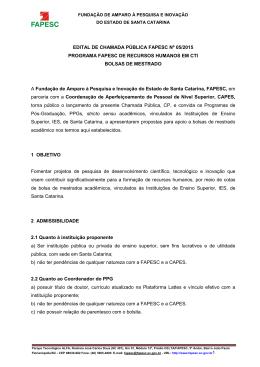 EDITAL DE CHAMADA PÚBLICA FAPESC Nº 05/2015 PROGRAMA