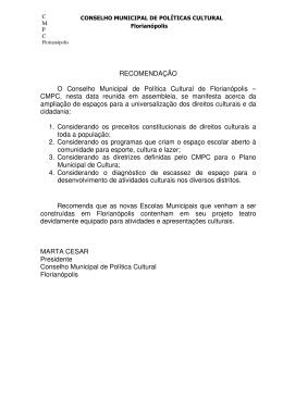Recomendação_- Teatro nas Escolas Municipais