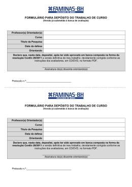 Formulário para depósito do trabalho de curso