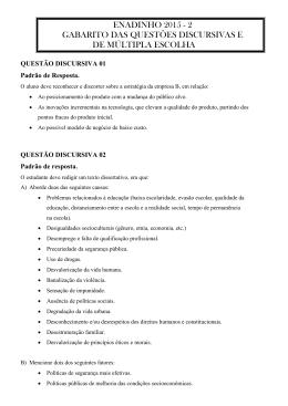 ENADINHO 2015 - 2 GABARITO DAS QUESTÕES DISCURSIVAS E