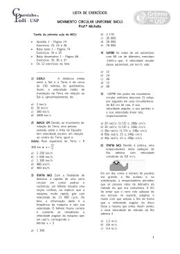 LISTA DE EXERCÍCIOS MOVIMENTO CIRCULAR UNIFORME