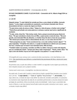QUARTO DOMINGO DO ADVENTO – 21 de dezembro de 2014 EIS