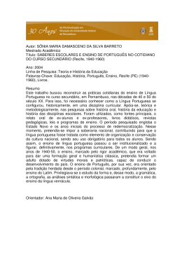 Autor: SÔNIA MARIA DAMASCENO DA SILVA BARRETO Mestrado