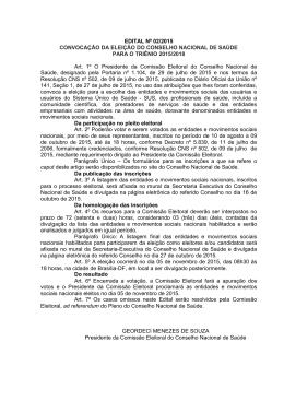 EDITAL Nº 02/2015 CONVOCAÇÃO DA ELEIÇÃO DO CONSELHO