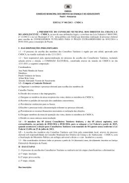 CMDCA CONSELHO MUNICIPAL DOS DIREITOS DA CRIANÇA E