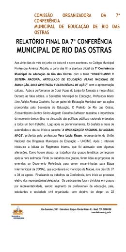 MUNICIPAL DE RIO DAS OSTRAS
