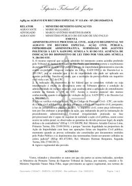 STJ - AREsp 113.436-SP, em 10/04/201: INQUÉRITO CIVIL. AÇÃO