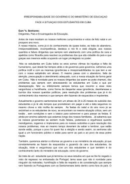 IRRESPONSABILIDADE DO GOVERNO E DO MINISTÉRIO DE