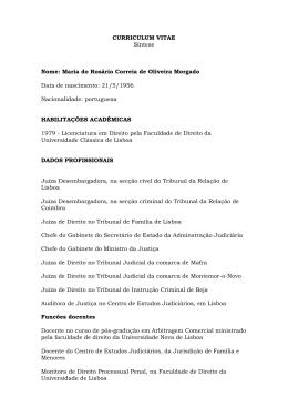 CURRICULUM VITAE Síntese Nome: Maria do Rosário