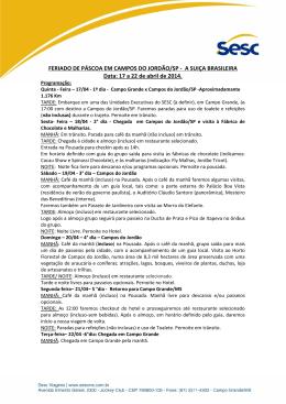 FERIADO DE PÁSCOA EM CAMPOS DO JORDÃO/SP - A