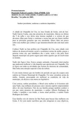 (PMDB- GO) MORTE DA EX-VEREADORA NADIR GARCIA CUNHA