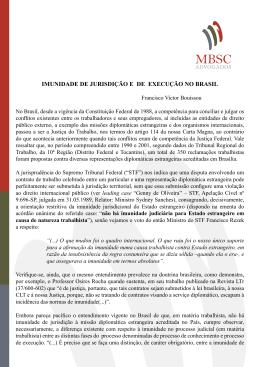 IMUNIDADE DE JURISDIÇÃO E DE EXECUÇÃO NO BRASIL