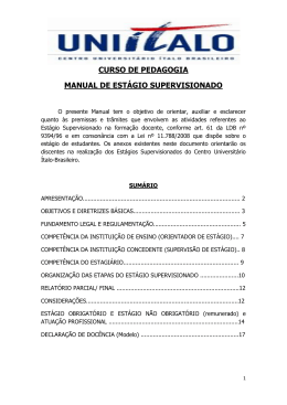 Manual de Estágio do Curso de Pedagogia