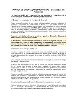 PRÁTICA DE ORIENTAÇÃO EDUCACIONAL – Licenciatura em