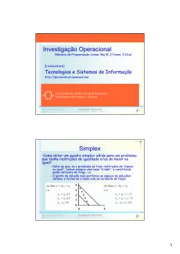 Investigação Operacional Simplex