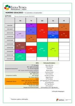 HORÁRIO 2014/2015 – 15.setembro a 16.dezembro