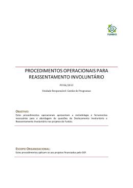 Procedimentos Operacionais de reassentamento involuntário