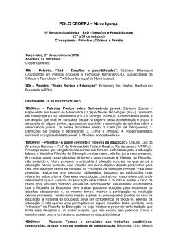 IV Semana acadêmica do Polo Cederj Nova Iguaçu – Programação