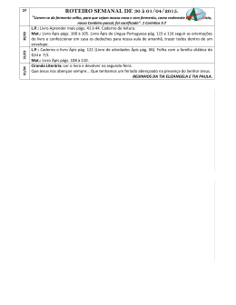 ROTEIRO SEMANAL DE 30 à 01/04/2015