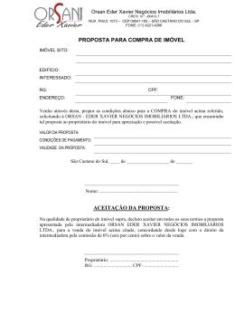 formulário para proposta de venda