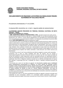 Esclarecimento - Tribunal Regional Eleitoral de Mato Grosso