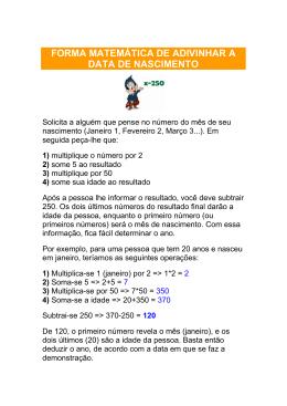 FORMA MATEMÁTICA DE ADIVINHAR A DATA DE NASCIMENTO