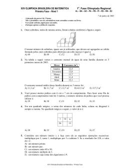 XXV OLIMPÍADA BRASILEIRA DE MATEMÁTICA Primeira Fase
