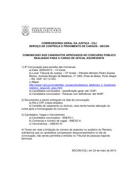 corregedoria geral da justiça - cgj serviço de controle e provimento