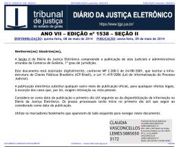 TJ-GO DIÁRIO DA JUSTIÇA ELETRÔNICO - EDIÇÃO 1538