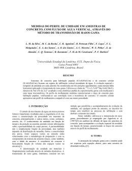 medidas do perfil de umidade em amostras de concreto, com