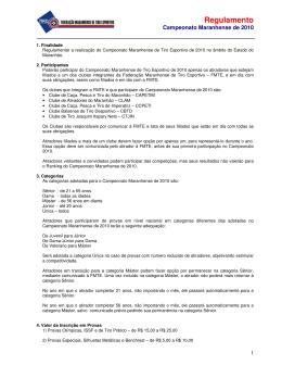 regulamento - campeonato - Federação Maranhense de Tiro Esportivo