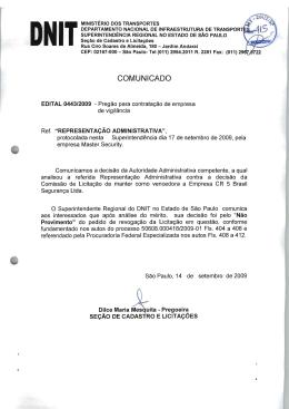Julgamento de Representação Administrativa