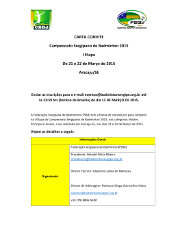 Carta convite - Campeonato Sergipano de Badminton