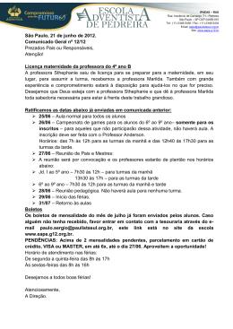 São Paulo, 21 de junho de 2012. Comunicado Geral nº 12/12