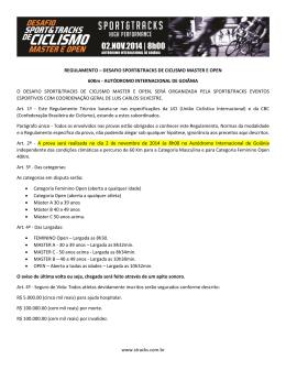 www.stracks.com.br REGULAMENTO – DESAFIO SPORT&TRACKS