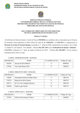 CARGO: ADMINISTRADOR / MARABÁ INSCRIÇÃO NOME