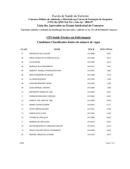 Lista dos aprovados no Exame Intelectual