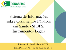 SIOPS: Instrumentos Legais