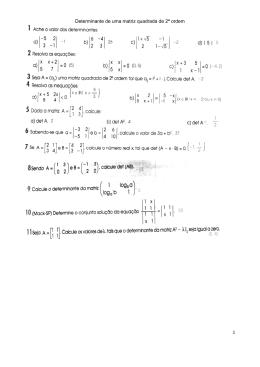 1 Determinante de uma matriz quadrada de 2ª ordem