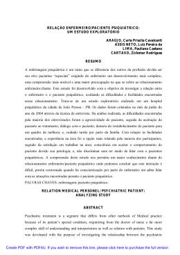 RELAÇÃO ENFERMEIRO/PACIENTE PSIQUIÁTRICO: UM ESTUDO