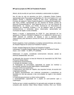 MP aprova projeto do HRC de Presidente Prudente Abaixo, ata da