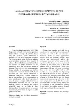 avaliação da tenacidade ao impacto do aço inoxidável aisi 304 em