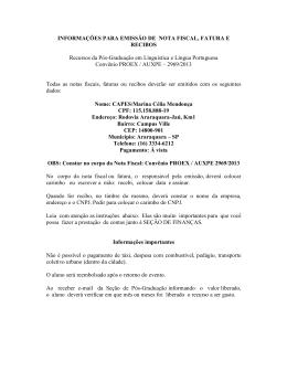 INFORMAÇÕES PARA EMISSÃO DE NOTA FISCAL