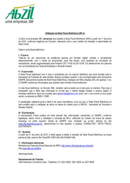 Utilização da Nota Fiscal Eletrônica (NF-e)