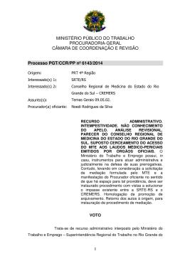 Processo PGT/CCR/nº 6143/2014 - Ministério Público do Trabalho