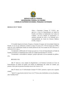Resolução Nº 78/2013 - Universidade Federal da Paraíba
