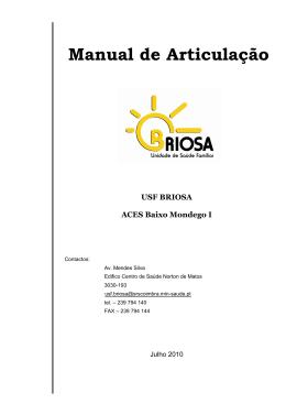 Manual de Articulação - Administração Regional de Saúde do Centro