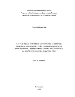 Alinhamento das estratégias competitivas e logísticas da montadora