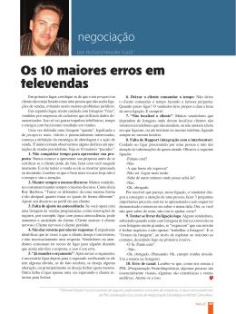Os 10 maiores erros em televendas