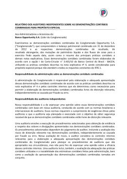 BANCO OPP IFRS 2012- RELATÓRIO DOS